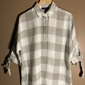 Lafayette 148 New York plaid linen shirt